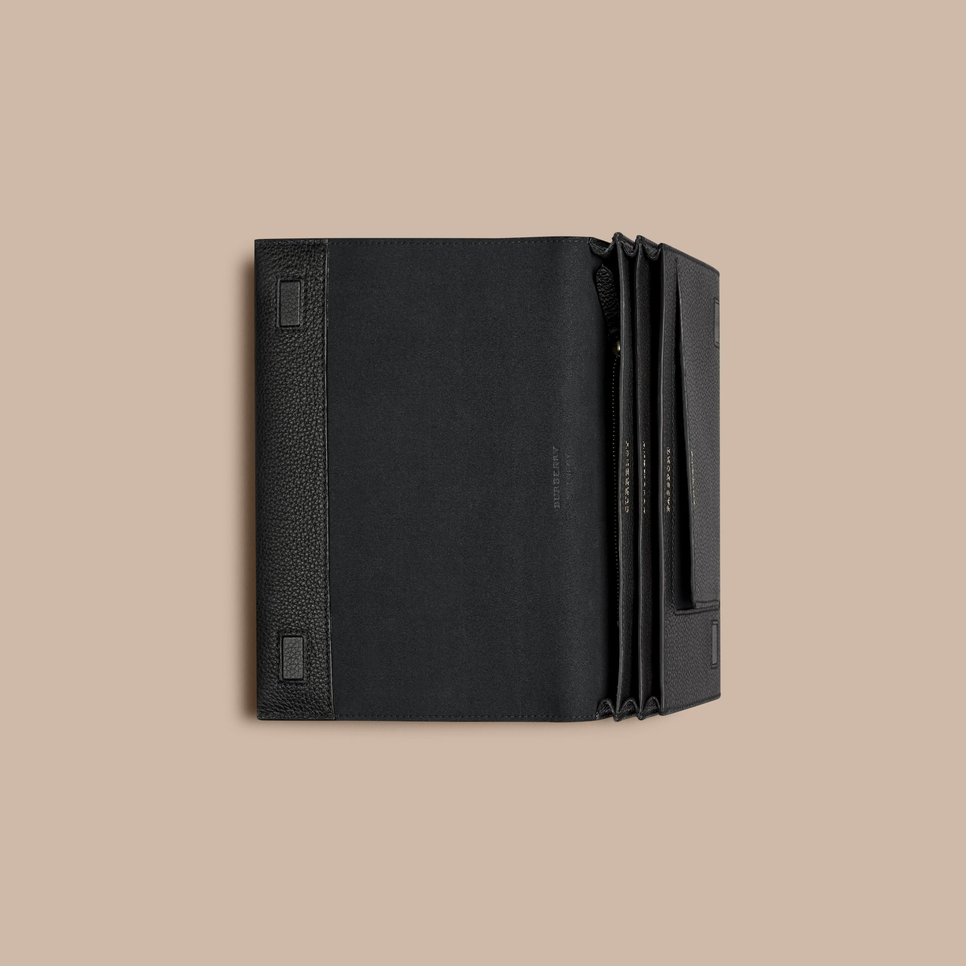 Grainy Leather Travel Wallet in Black - gallery image 2