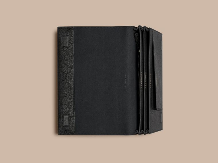 Grainy Leather Travel Wallet in Black - cell image 1
