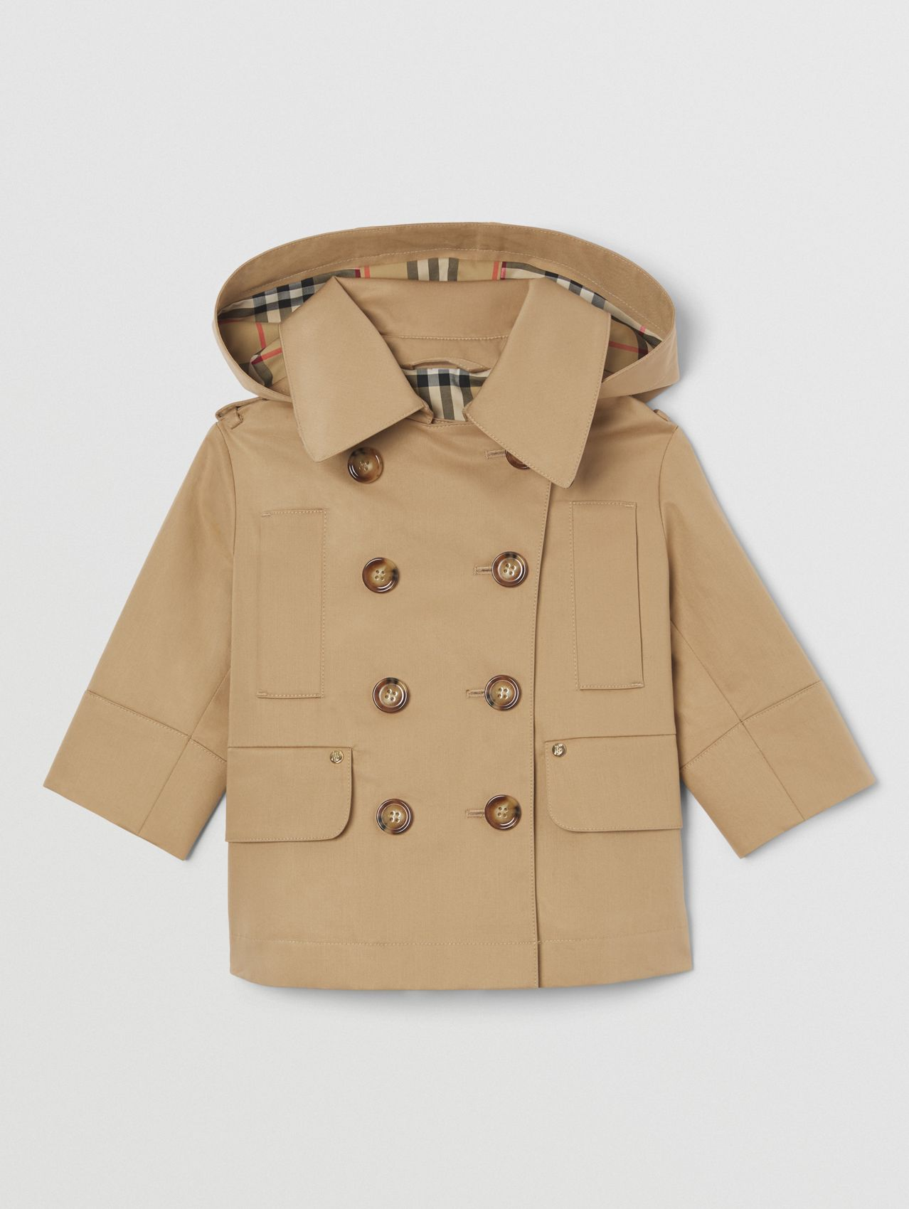 Detachable Hood Cotton Twill Trench Coat in Archive Beige