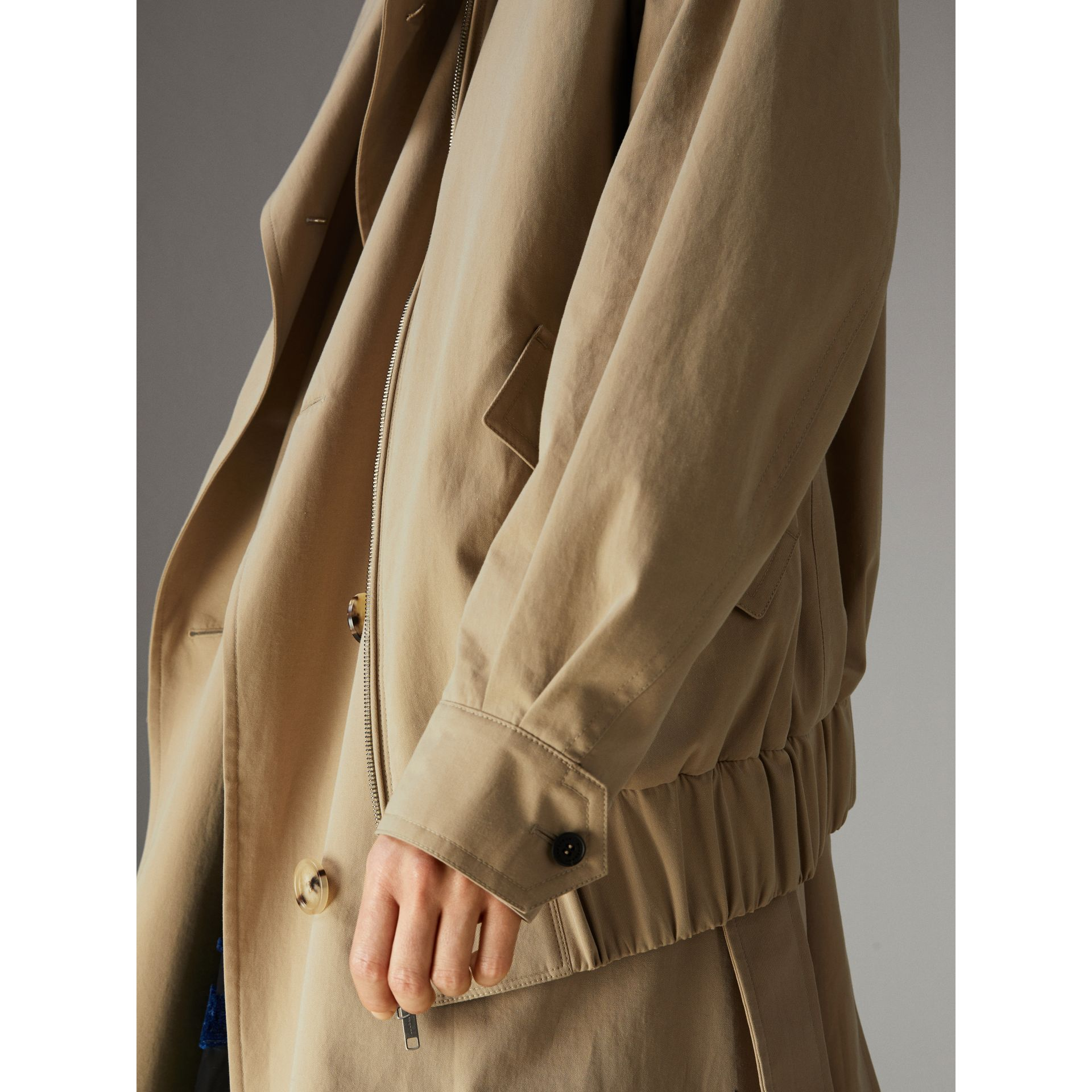 Tropical Gabardine Reconstructed Harrington Jacket in Honey - Women | Burberry - gallery image 5
