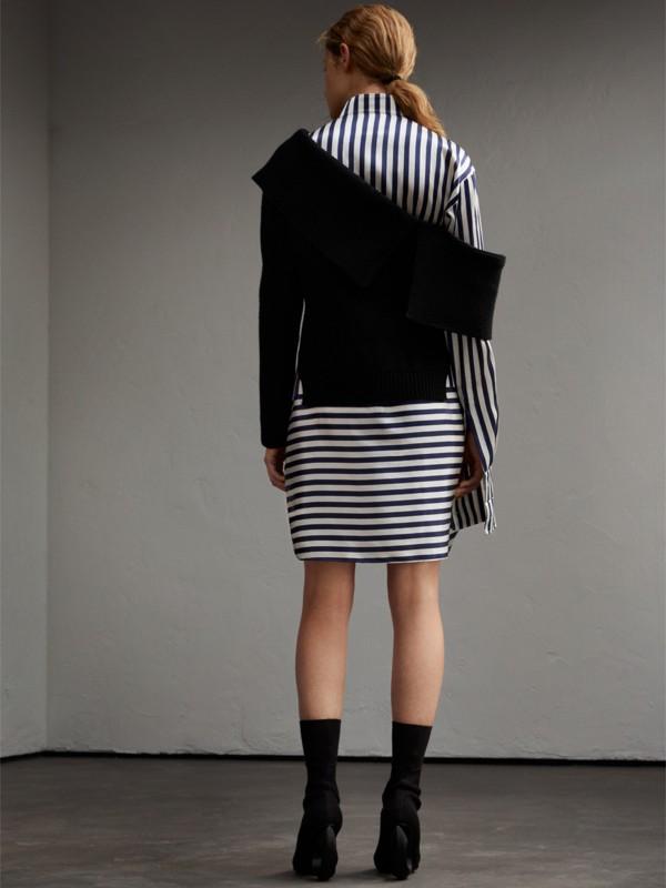 Striped Silk Cotton Shirt Dress in Indigo | Burberry United Kingdom - cell image 2