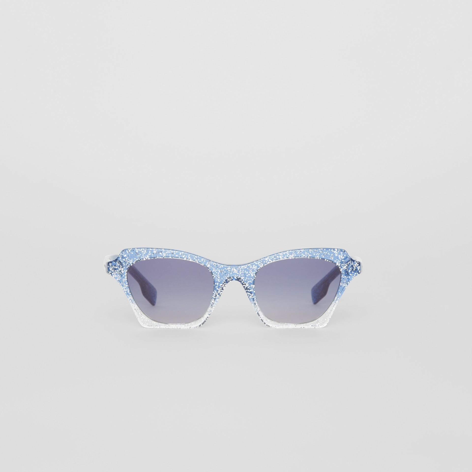 Butterfly Frame Sunglasses in Blue - Women | Burberry Australia - gallery image 0