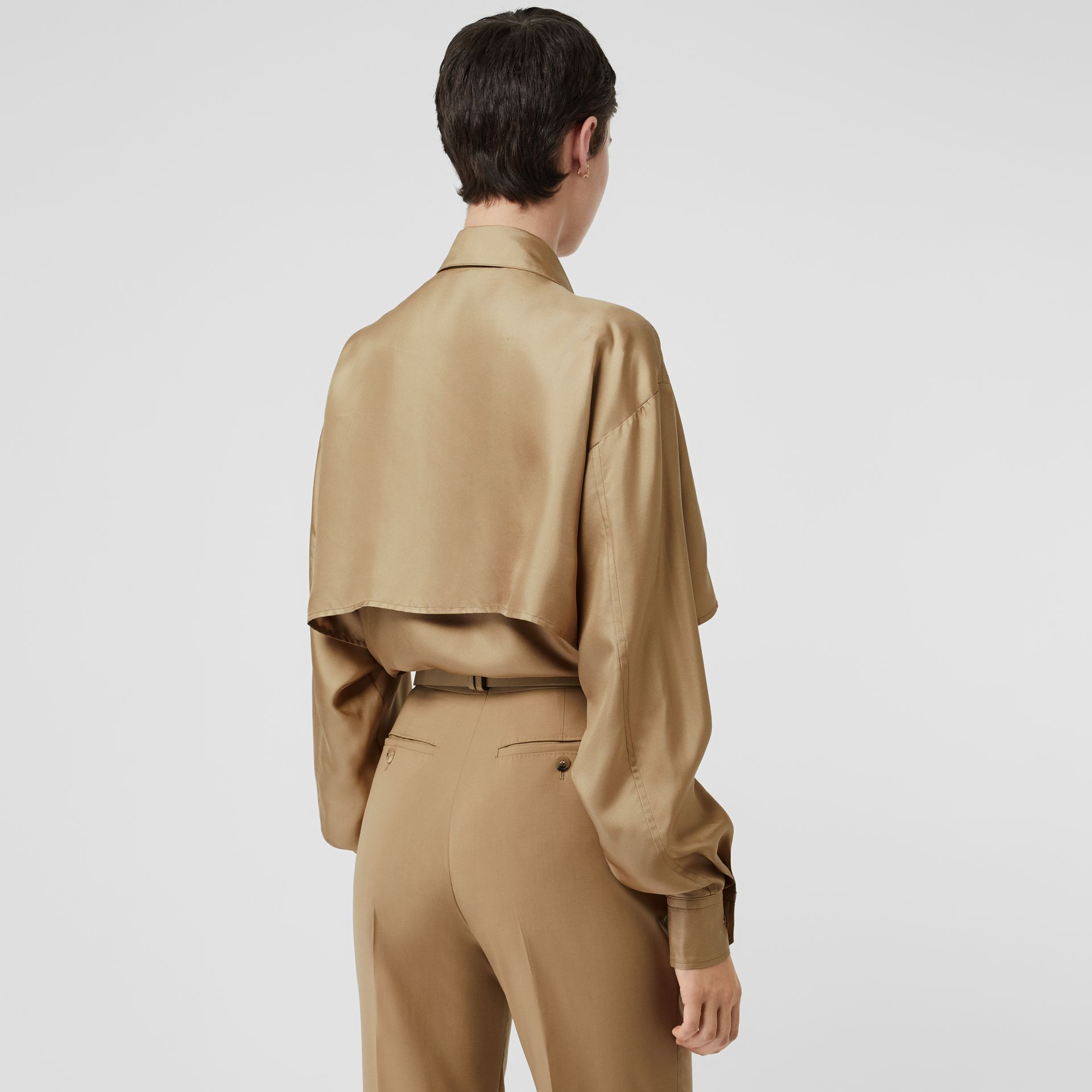 Cape Detail Silk Oversized Shirt in Honey - Women | Burberry - gallery image 2