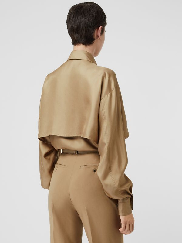 Cape Detail Silk Oversized Shirt in Honey - Women | Burberry - cell image 2