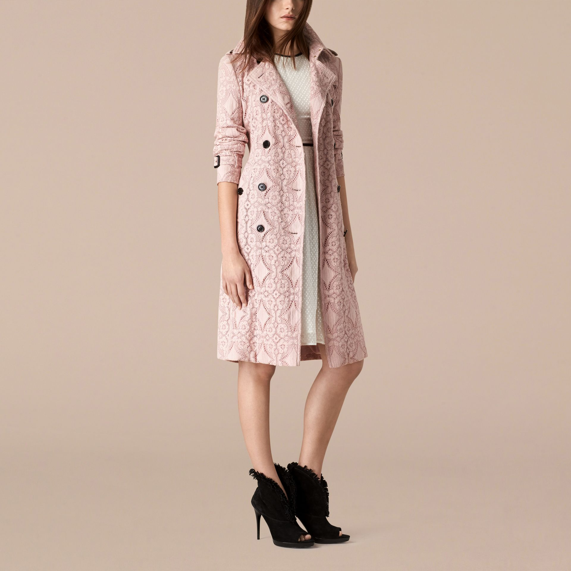 Thistle pink Gabardine Lace Trench Coat Thistle Pink - gallery image 3