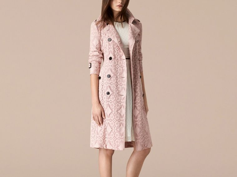 Thistle pink Gabardine Lace Trench Coat Thistle Pink - cell image 2