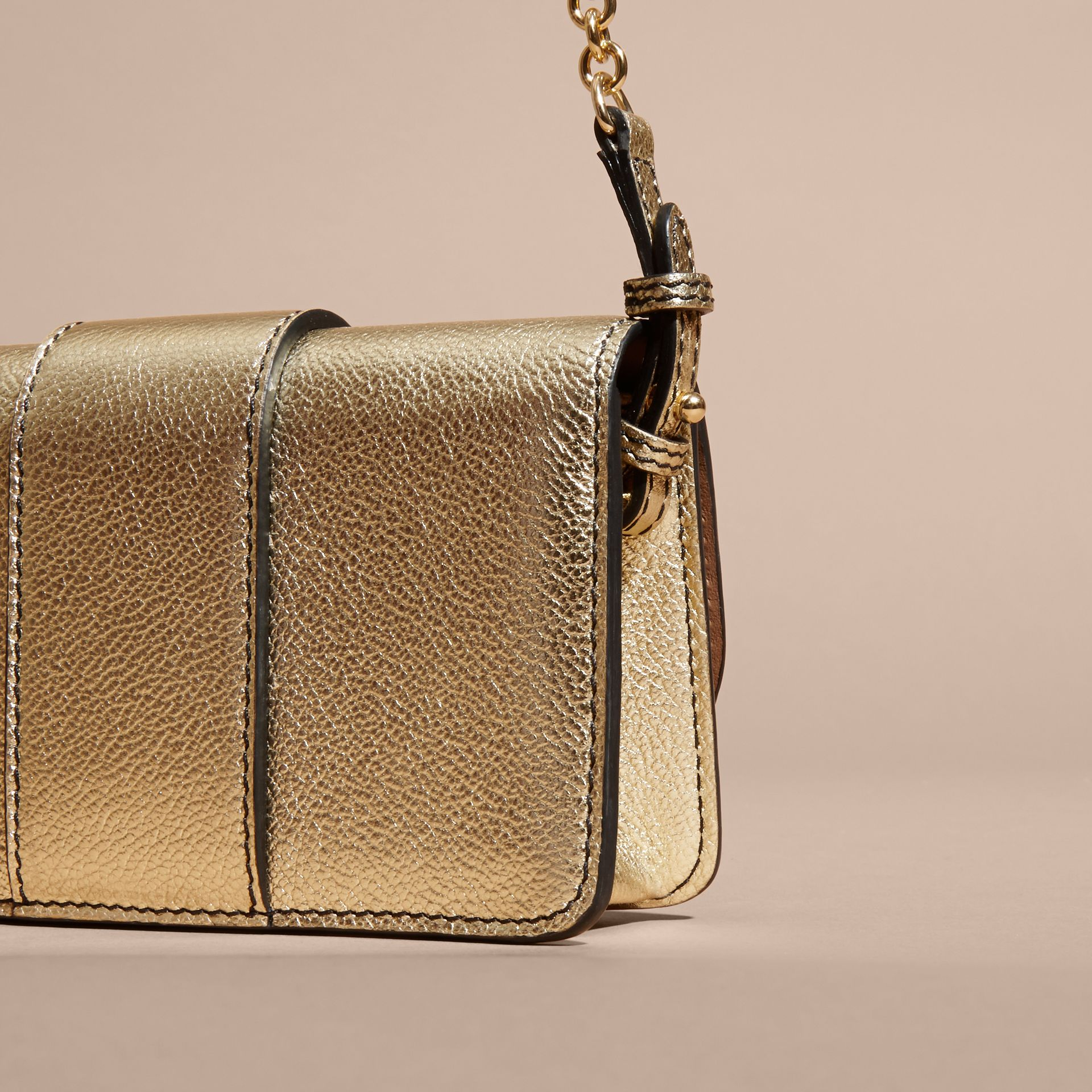 Gold The Mini Buckle Bag in Metallic Grainy Leather Gold - gallery image 7