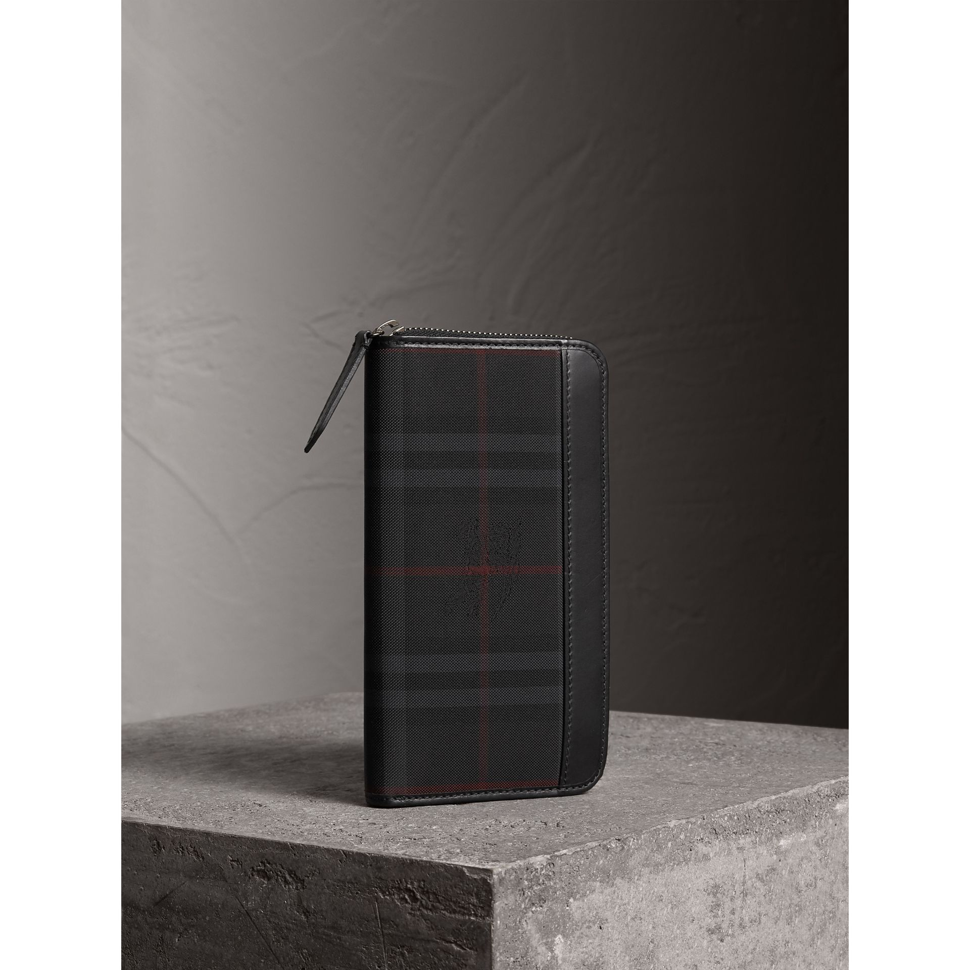 Horseferry Check Ziparound Wallet in Charcoal/black - Men | Burberry - gallery image 1