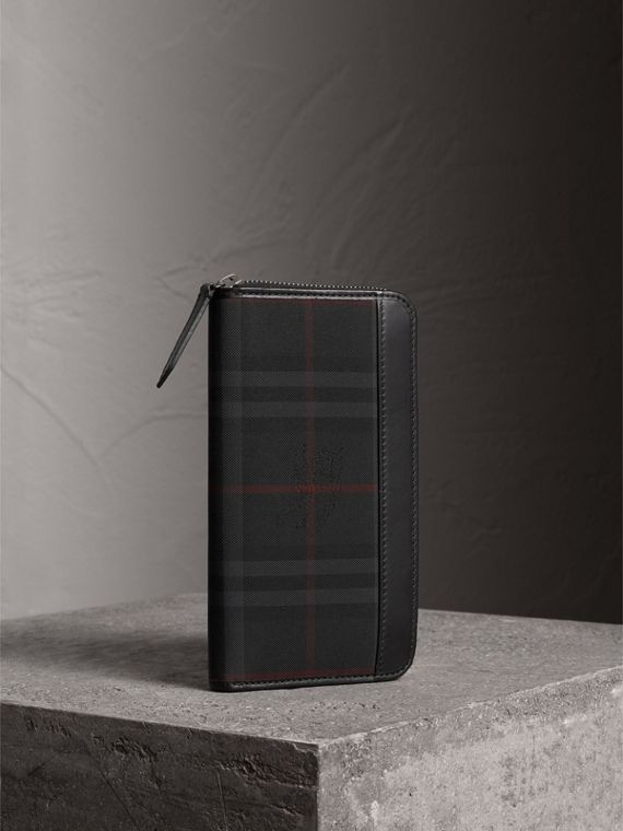 Horseferry Check Ziparound Wallet in Charcoal/black