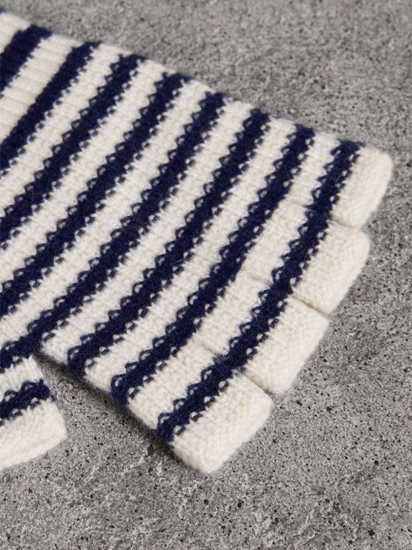 Striped Cashmere Fingerless Gloves in Navy | Burberry - cell image 1