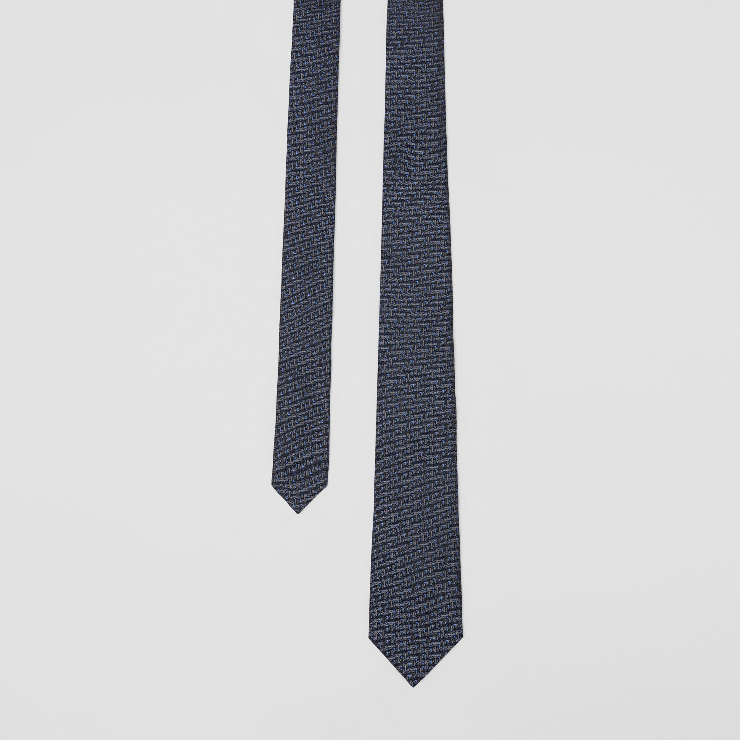 Classic Cut Monogram Silk Jacquard Tie in Canvas Blue - Men | Burberry - 1