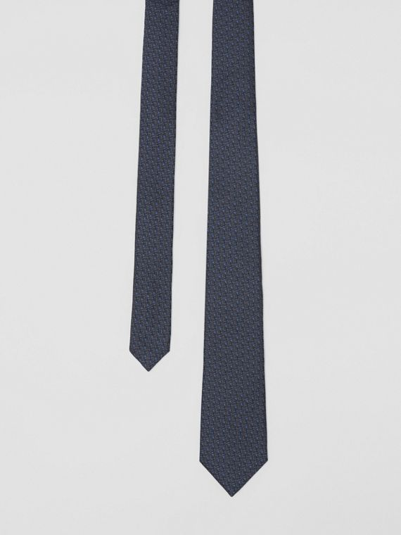 Classic Cut Monogram Silk Jacquard Tie in Canvas Blue