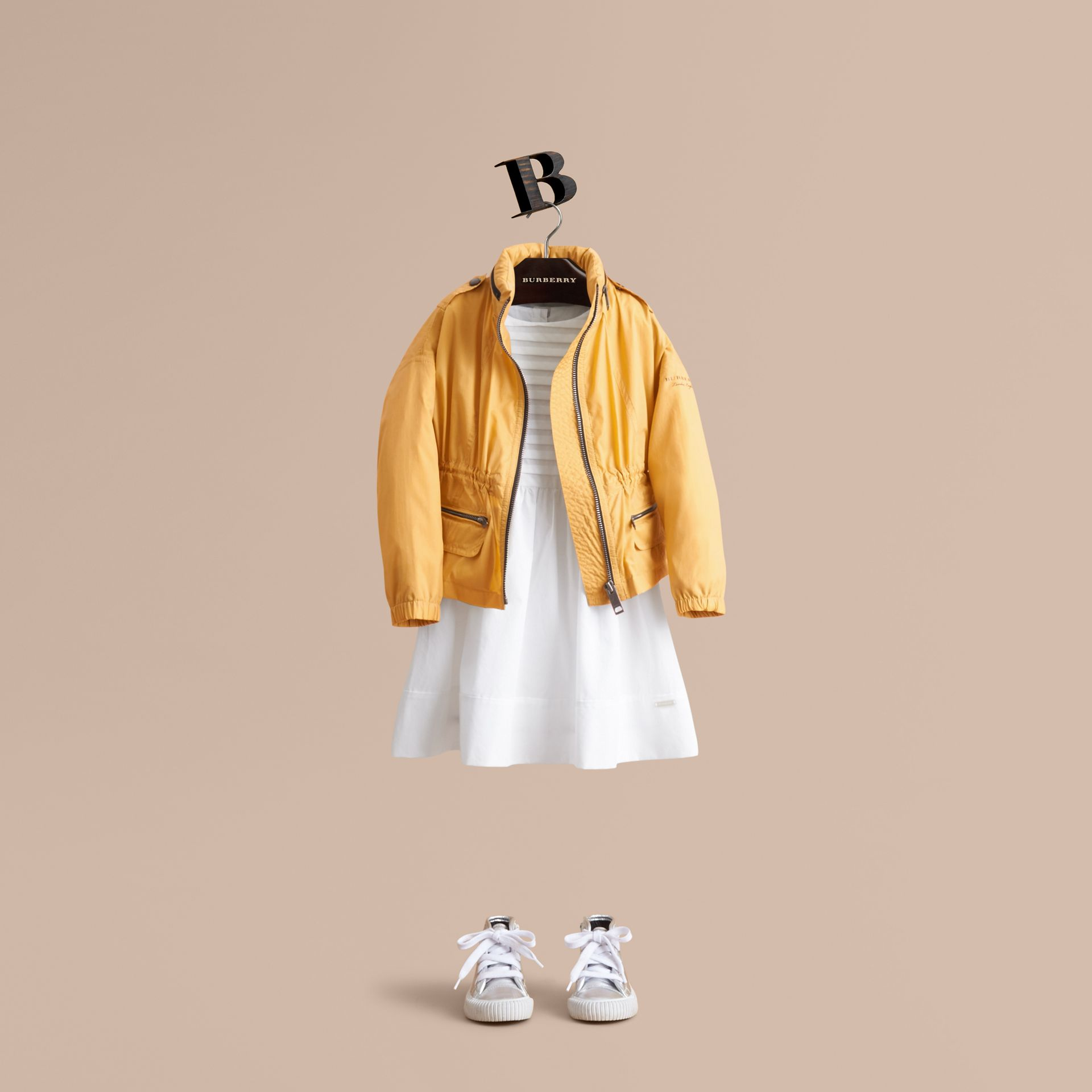 Packaway Hood Showerproof Jacket with Check Detail in Gorse Yellow - Girl | Burberry - gallery image 1
