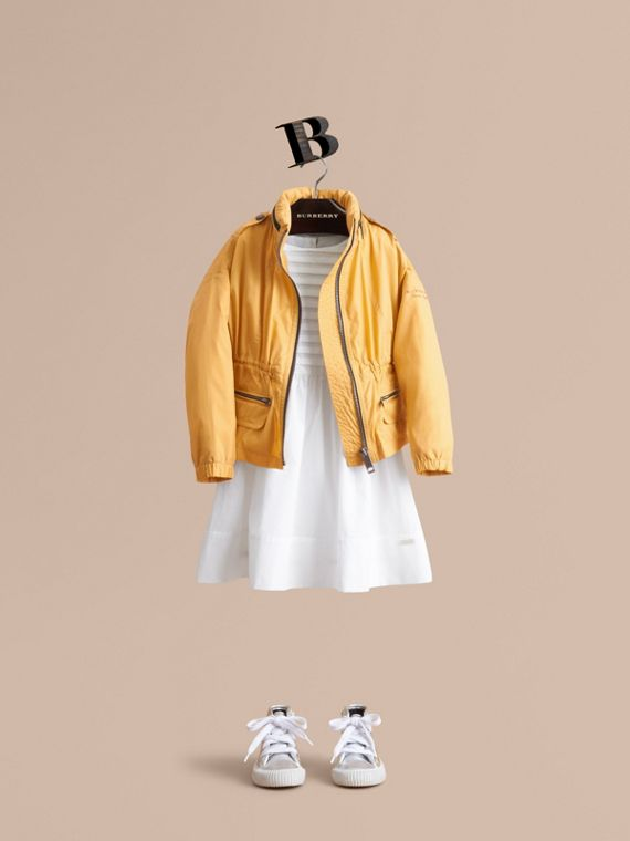 Packaway Hood Showerproof Jacket with Check Detail in Gorse Yellow - Girl | Burberry Singapore