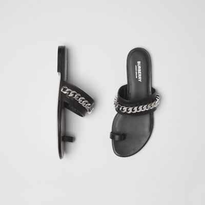 Chain Detail Leather Sandals by Burberry