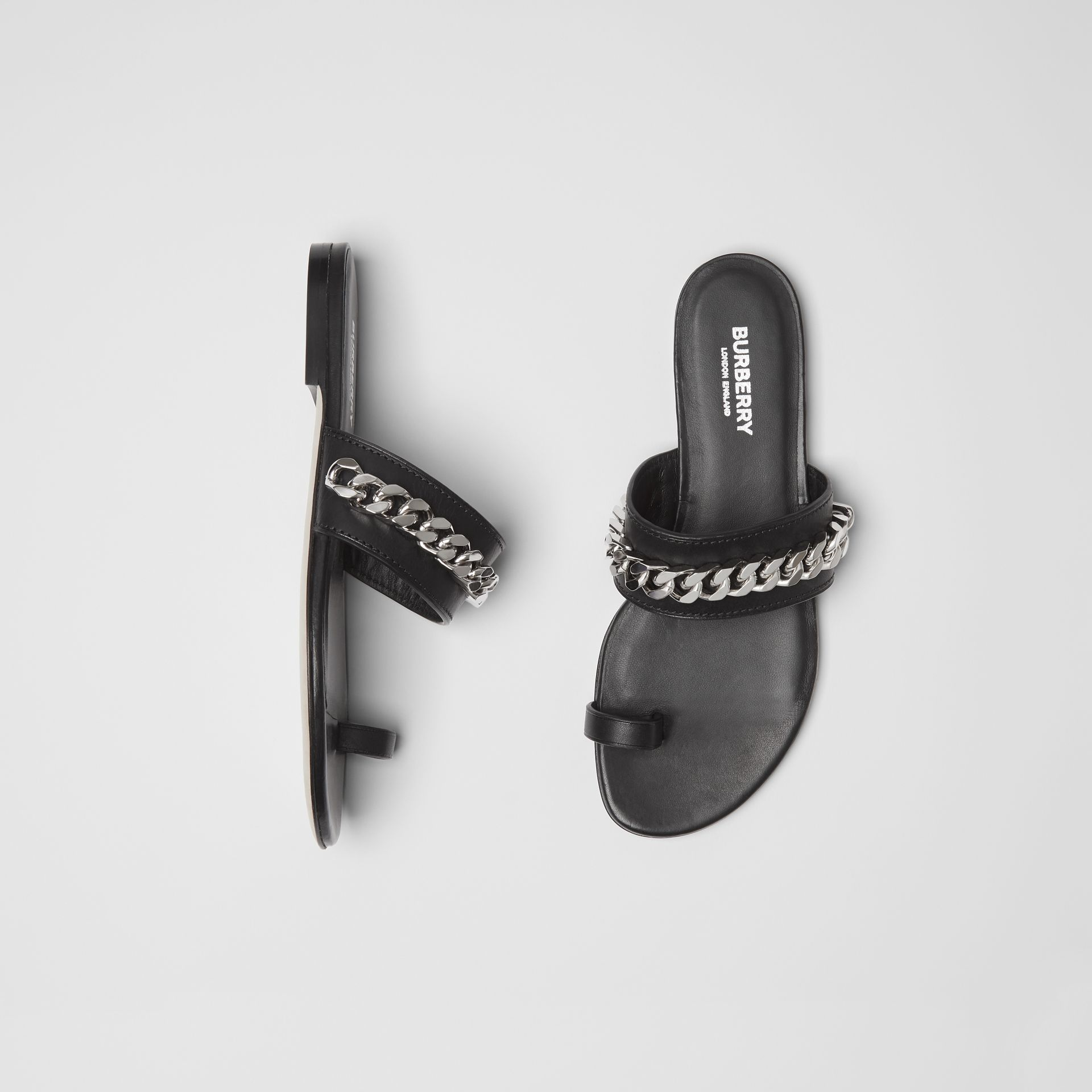 Chain Detail Leather Sandals in Black - Women | Burberry Singapore - gallery image 0