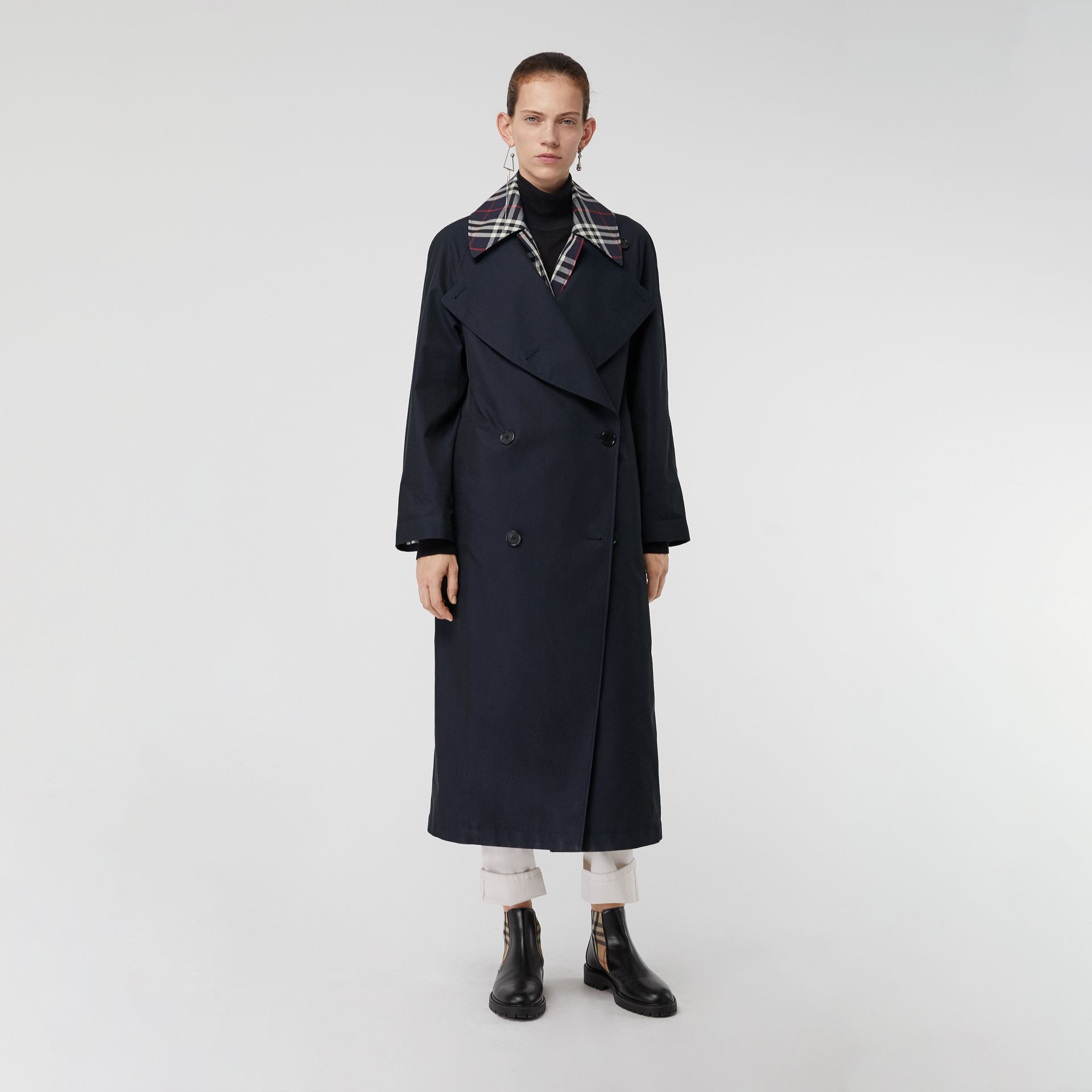 Double-Front Oversized Car Coat in Blue Carbon - Women | Burberry - gallery image 5