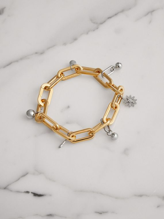 Crystal Charm Gold and Palladium-plated Bracelet in Light Gold/palladio