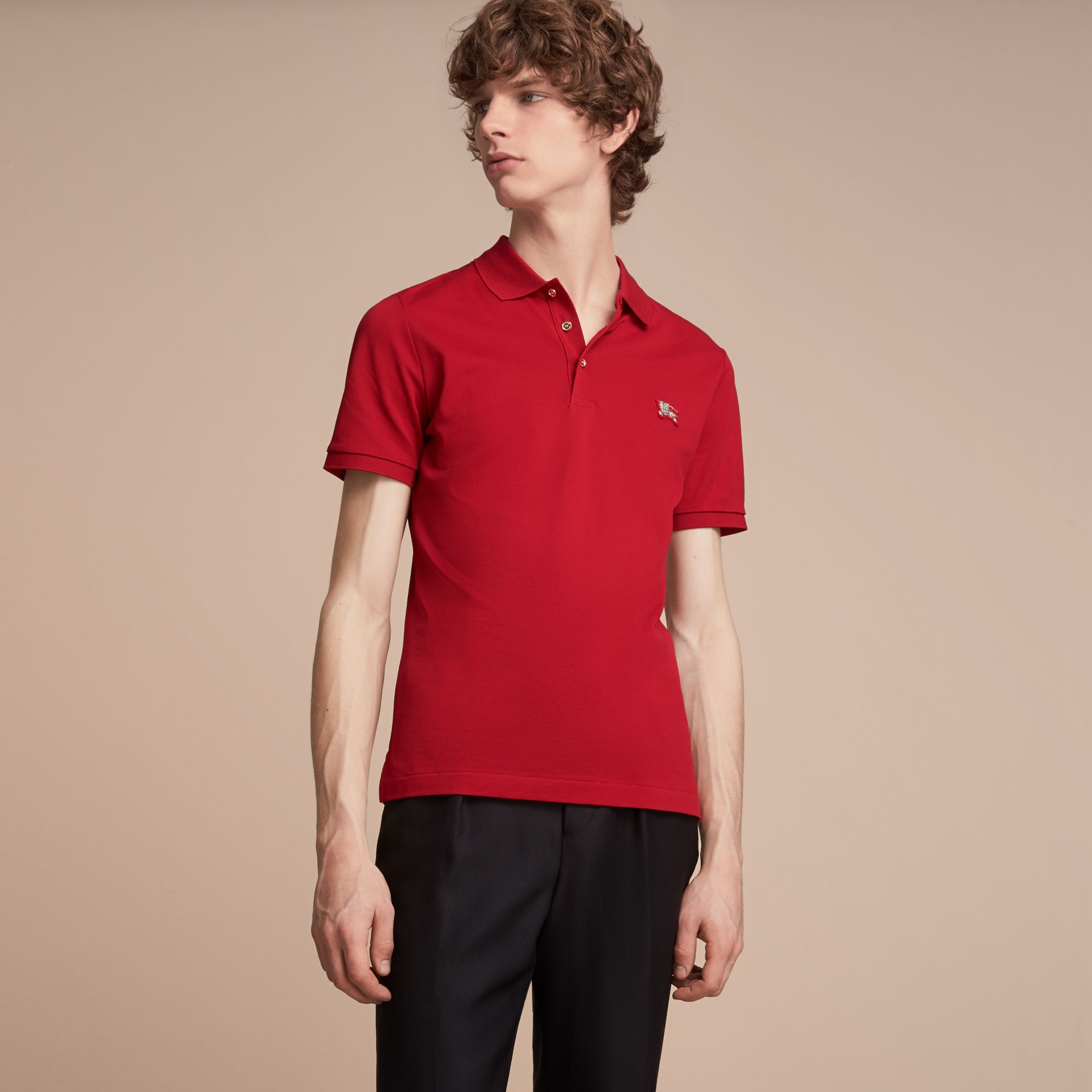 Cotton Piqué Polo Shirt Military Red - gallery image 6