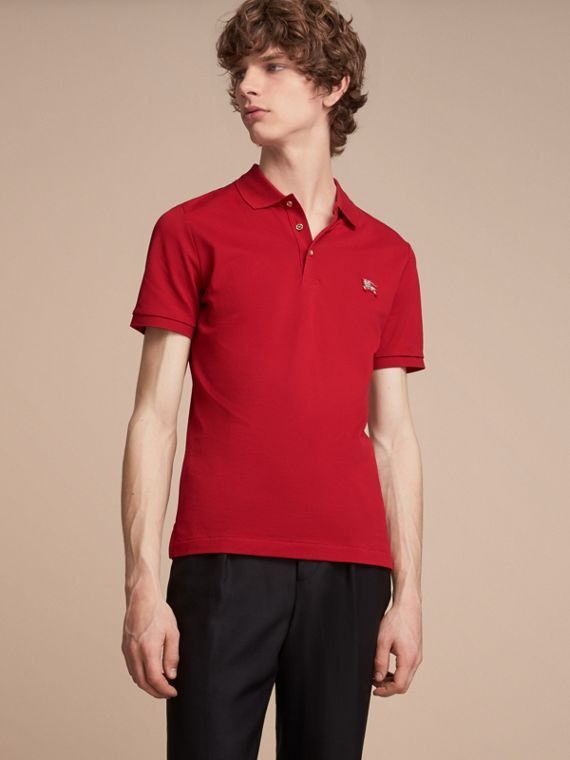 Cotton Piqué Polo Shirt Military Red