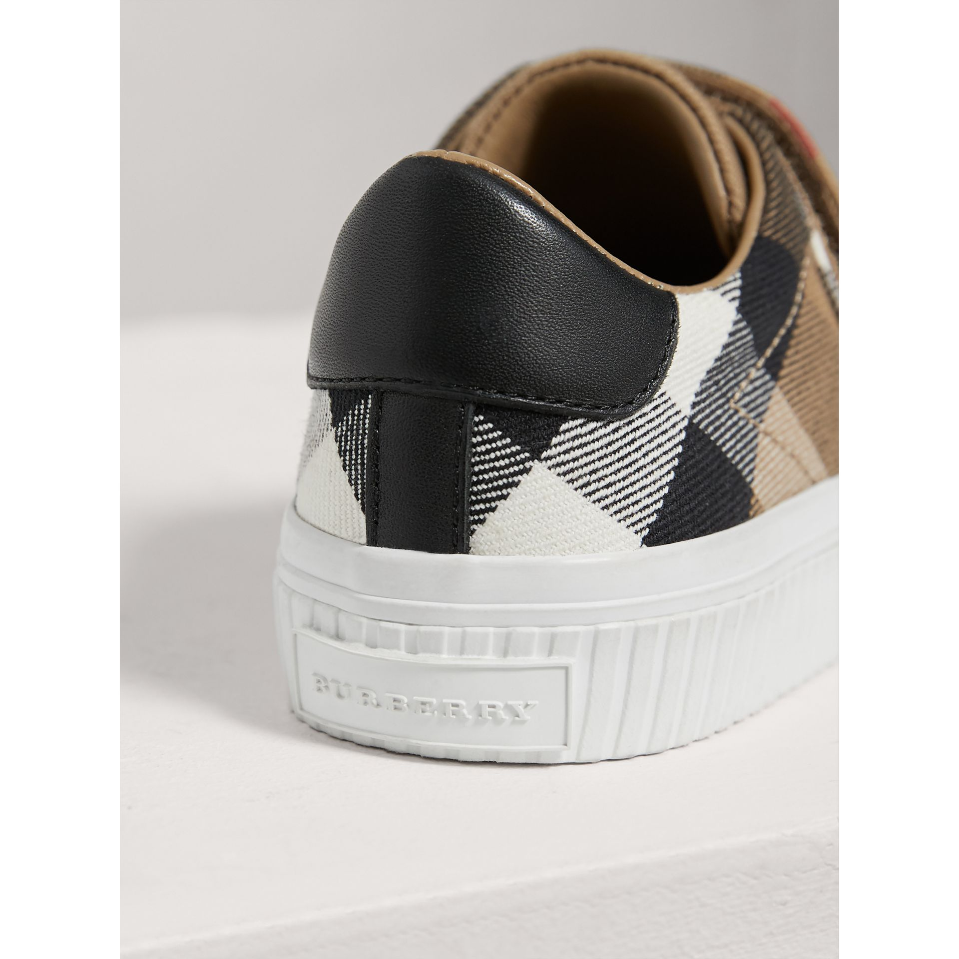 House Check and Leather Trainers in Classic/optic White | Burberry - gallery image 3