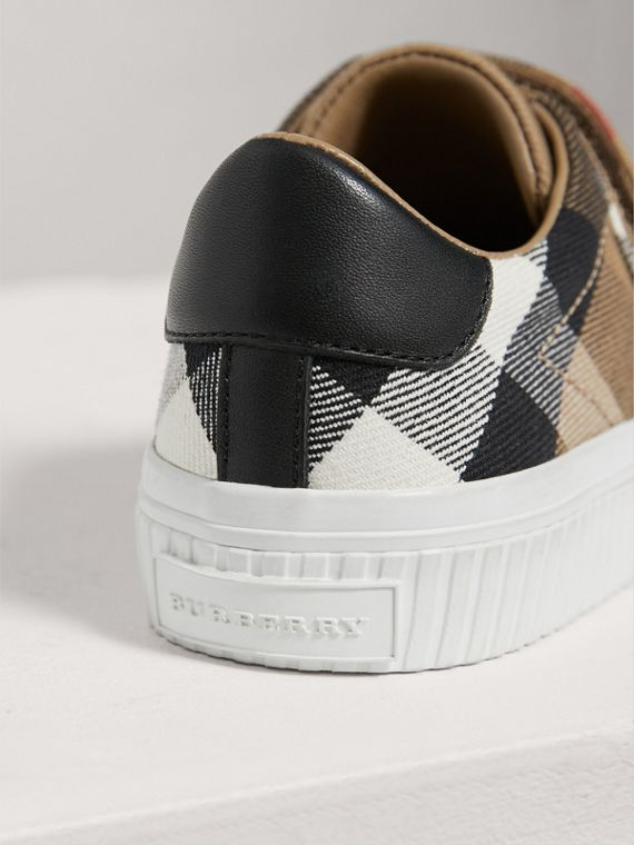 House Check and Leather Sneakers in Classic/optic White | Burberry - cell image 2