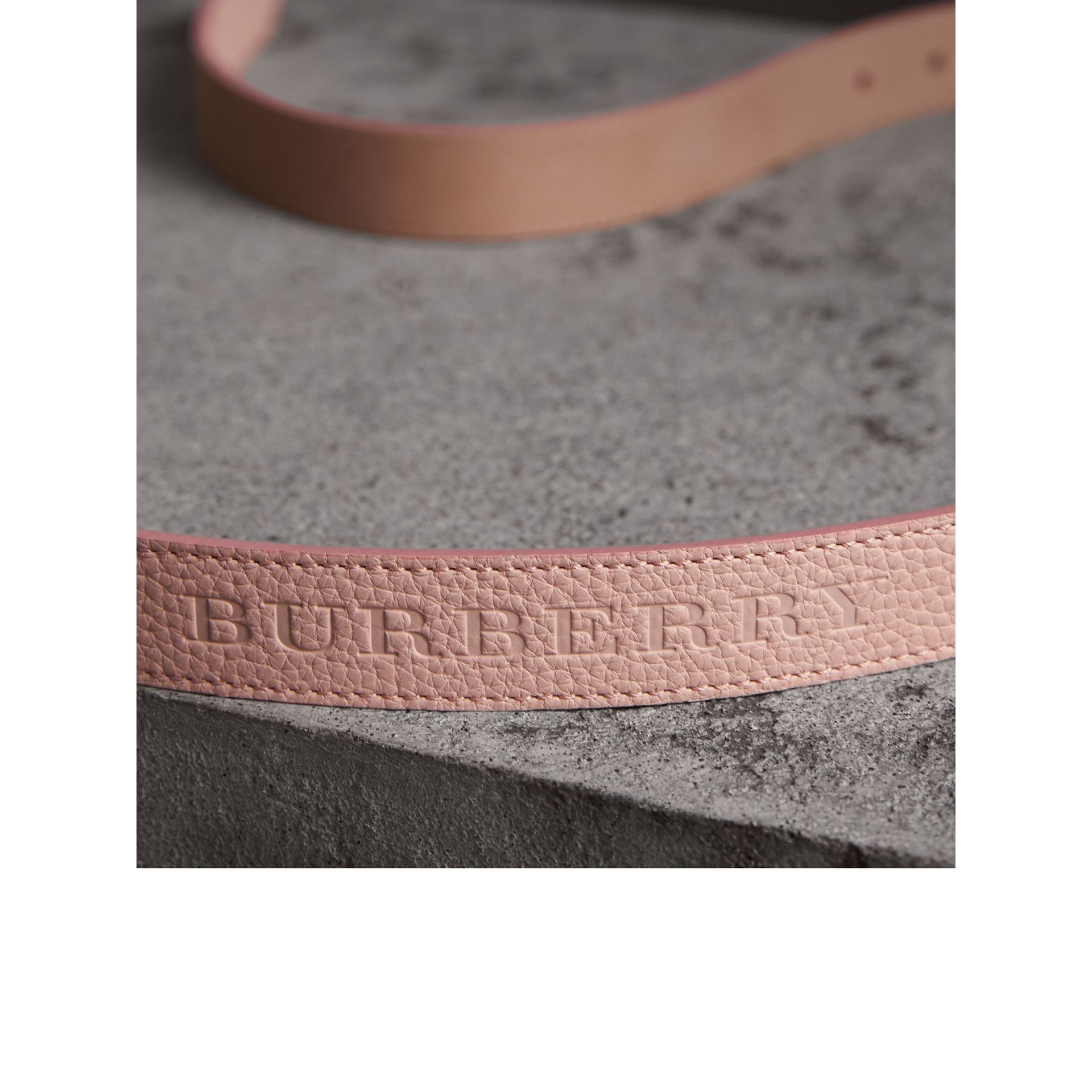 Embossed Leather Belt in Pale Ash Rose - Women | Burberry United Kingdom - gallery image 1