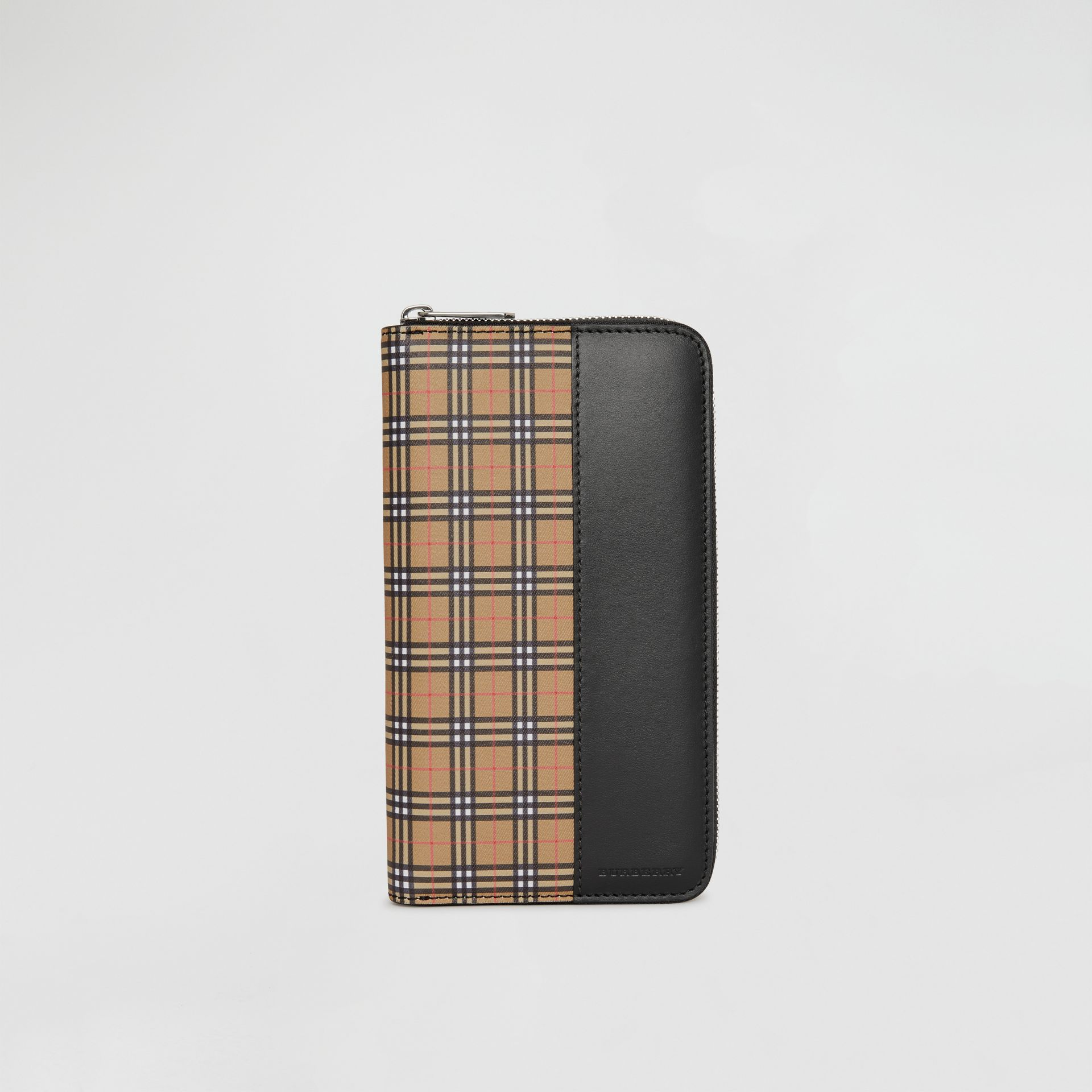 Small Scale Check and Leather Ziparound Wallet in Antique Yellow/black - Men | Burberry United States - gallery image 2