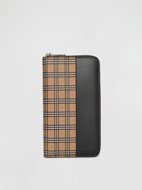 Small Scale Check and Leather Ziparound Wallet in Antique Yellow/black - Men | Burberry - cell image 2