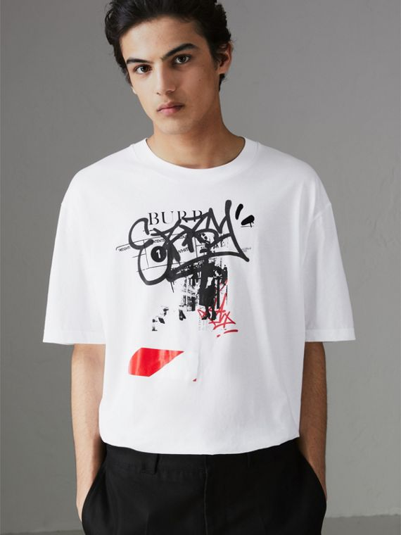 Graffitied Ticket Print Cotton T-shirt in White