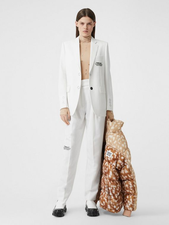 Location Print Wool Blend Tailored Jacket in Optic White