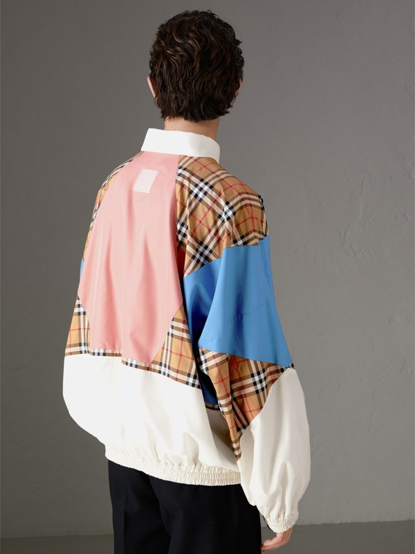 Vintage Check Panel Silk Shell Suit Jacket in White | Burberry - cell image 2