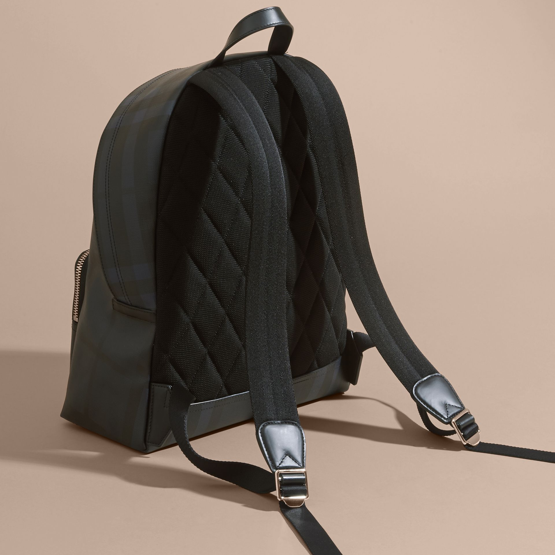 Leather Trim London Check Backpack Navy/black - gallery image 4