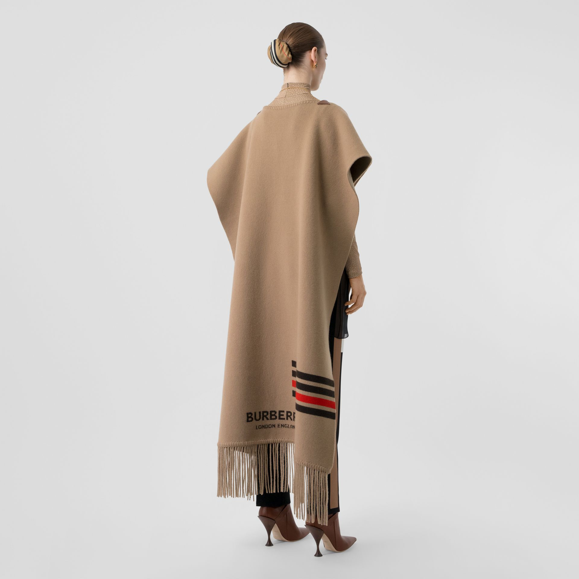 Striped Wool Cashmere Blend Cape in Camel - Women | Burberry Singapore - gallery image 2