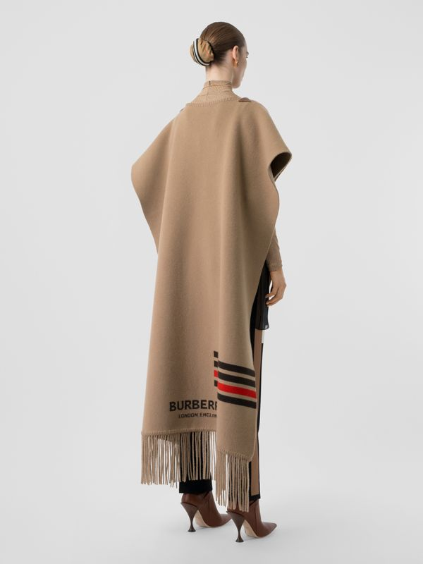 Striped Wool Cashmere Blend Cape in Camel - Women | Burberry - cell image 2