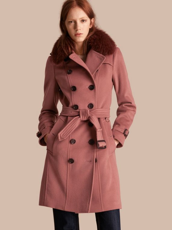 Trench coat in lana e cashmere con collo amovibile in pelliccia