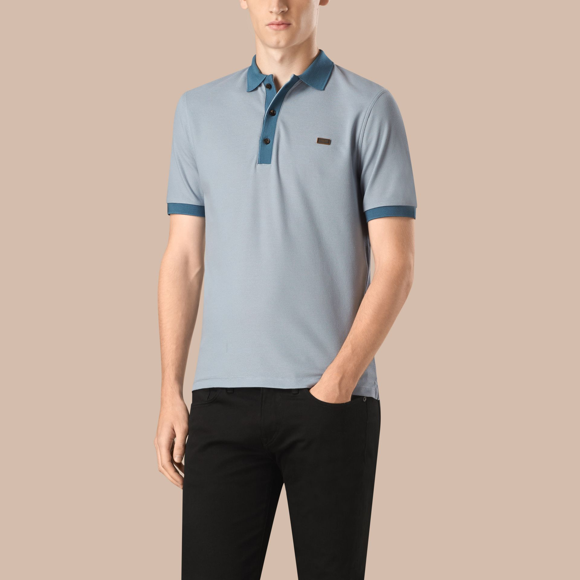 Pale sky blue/lupen blue Mercerised Cotton Piqué Polo Shirt Pale Sky Blue/lupen Blue - gallery image 1