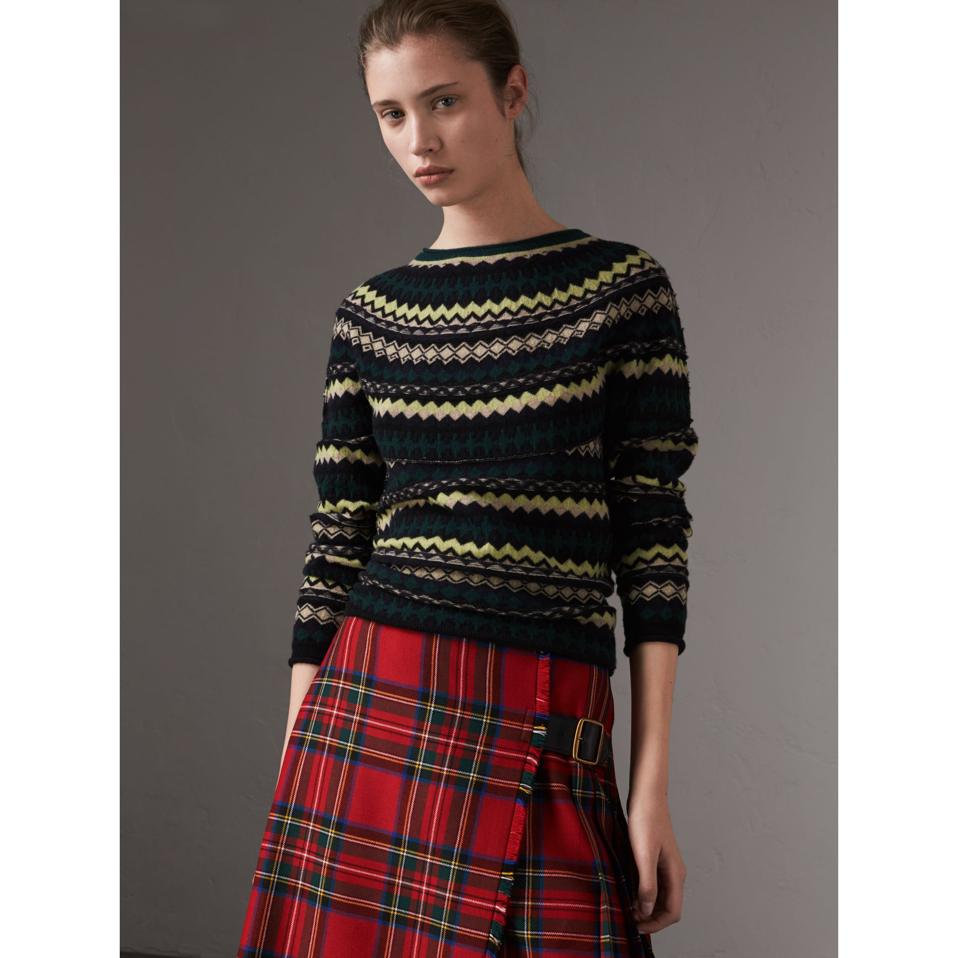 Fair Isle Wool Sweater in Olive Green - Women | Burberry Singapore - gallery image 0