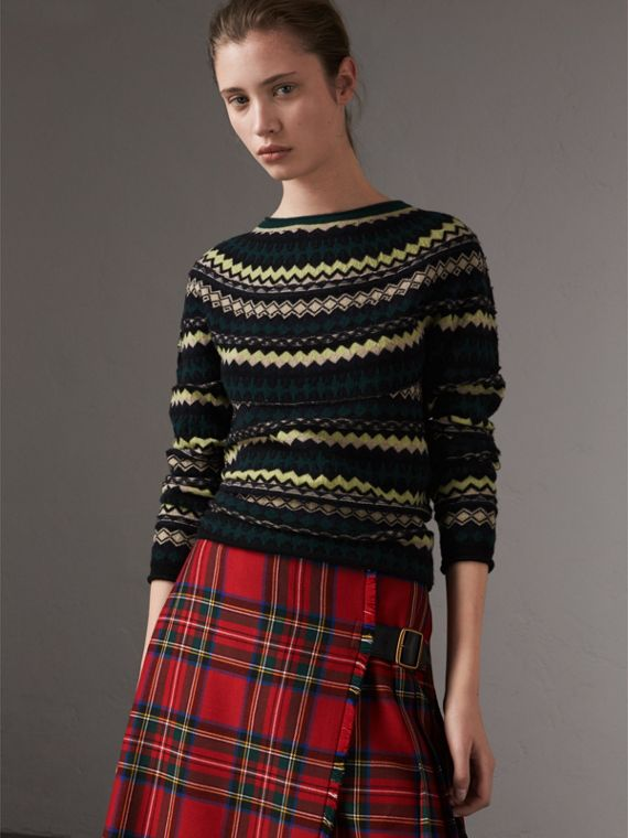 Fair Isle Wool Sweater in Olive Green