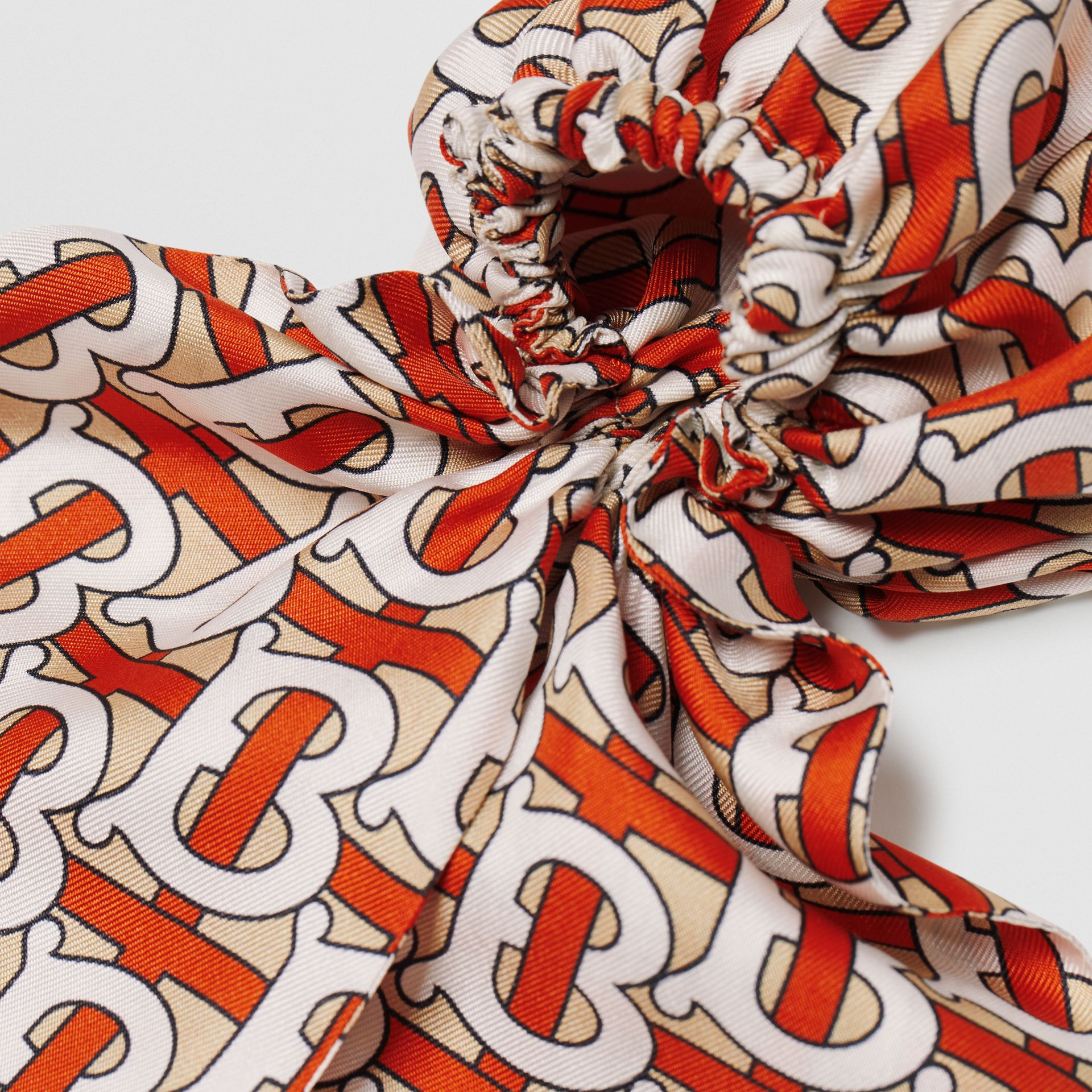 Monogram Print Silk Hair Scarf in Vermilion - Women | Burberry United Kingdom - gallery image 1