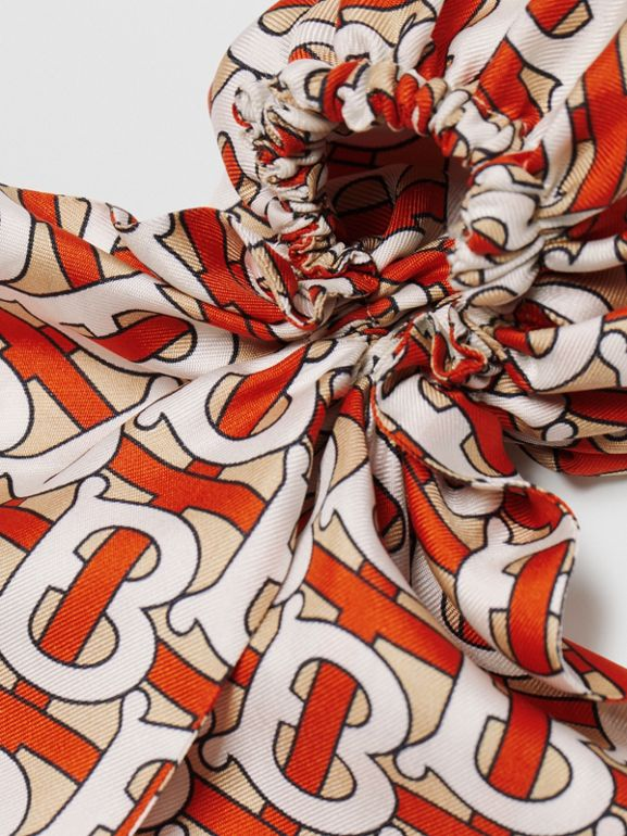 Monogram Print Silk Hair Scarf in Vermilion - Women | Burberry - cell image 1