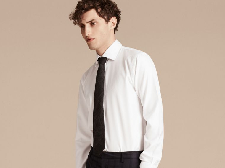 White Modern Fit Cotton Twill Shirt White - cell image 4