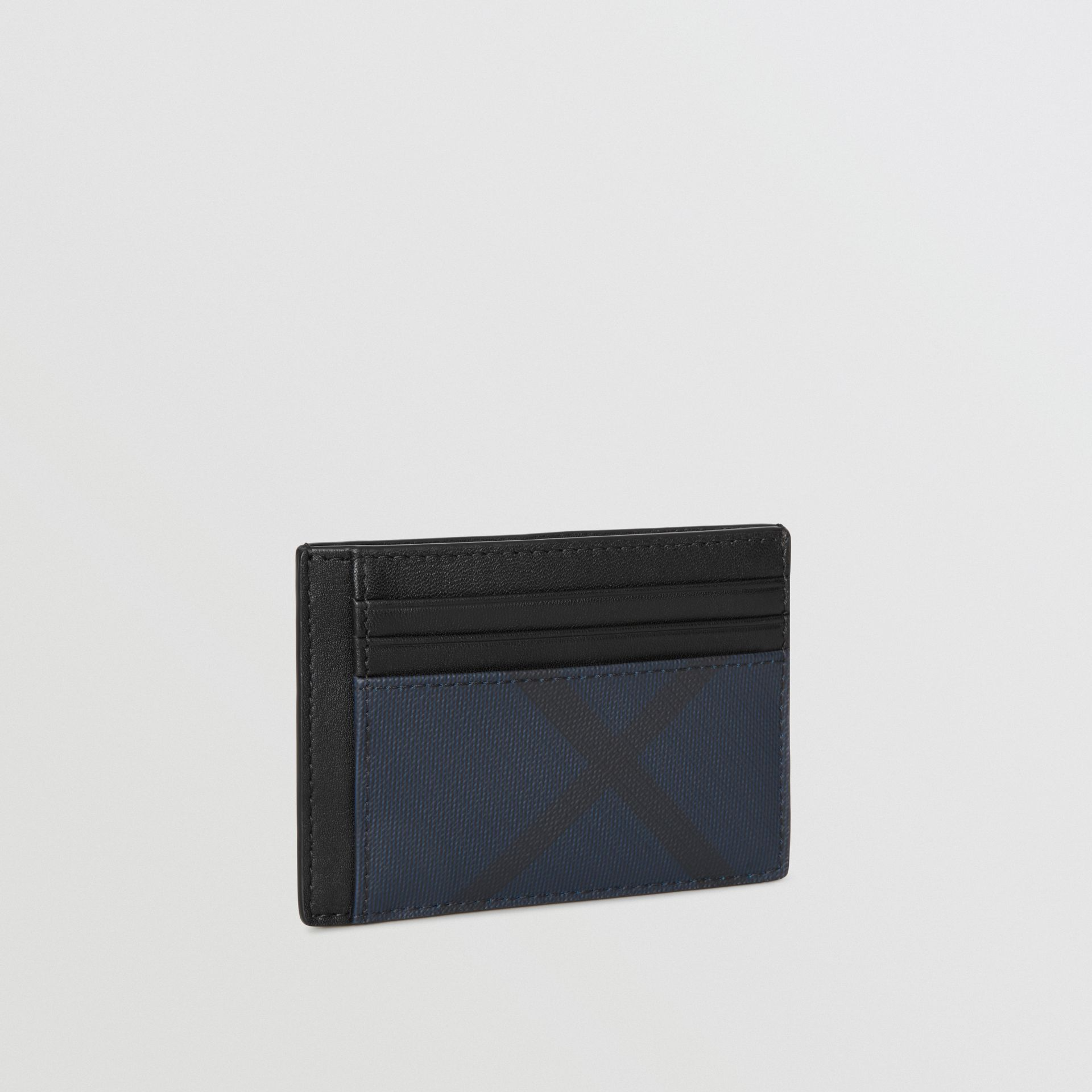 London Check and Leather Money Clip Card Case in Navy/black - Men | Burberry - gallery image 3