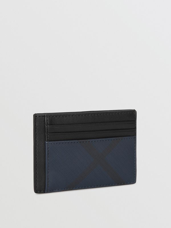 London Check and Leather Money Clip Card Case in Navy/black - Men | Burberry - cell image 3