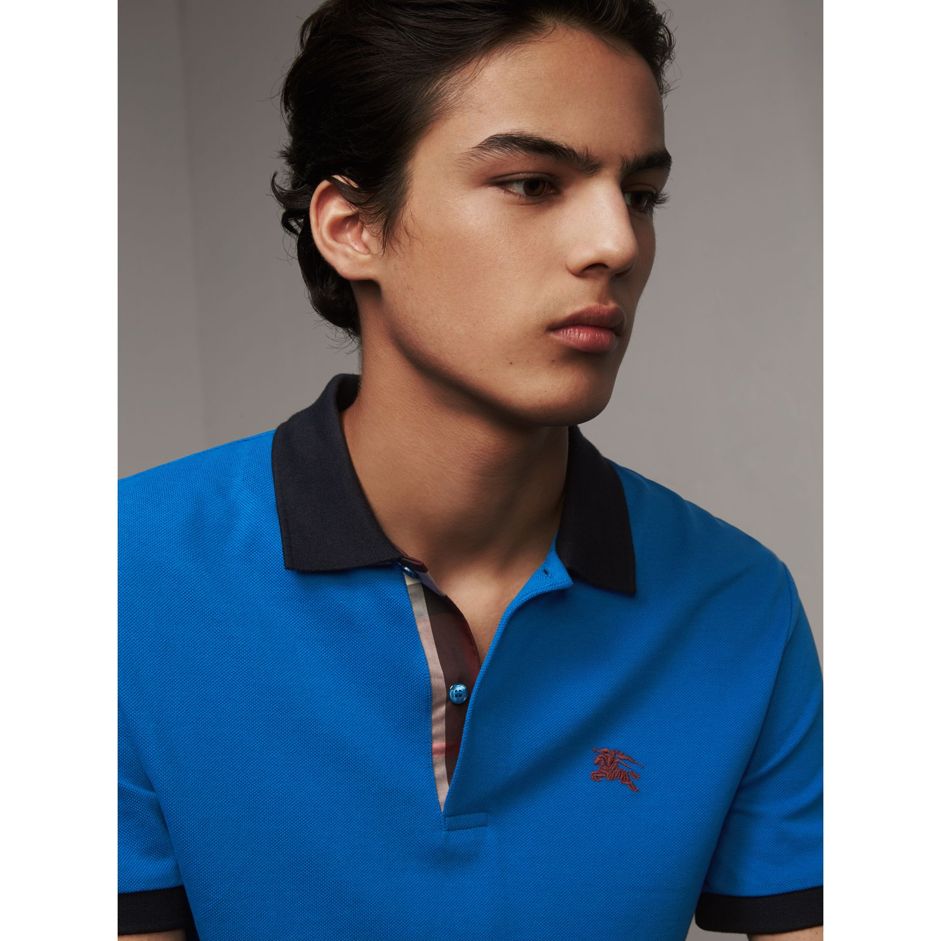 Two-tone Check Placket Cotton Piqué Polo Shirt in Bright Opal - Men | Burberry - gallery image 2