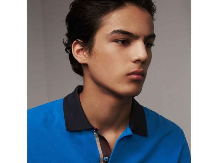 Two-tone Check Placket Cotton Piqué Polo Shirt in Bright Opal - Men | Burberry Singapore - cell image 1