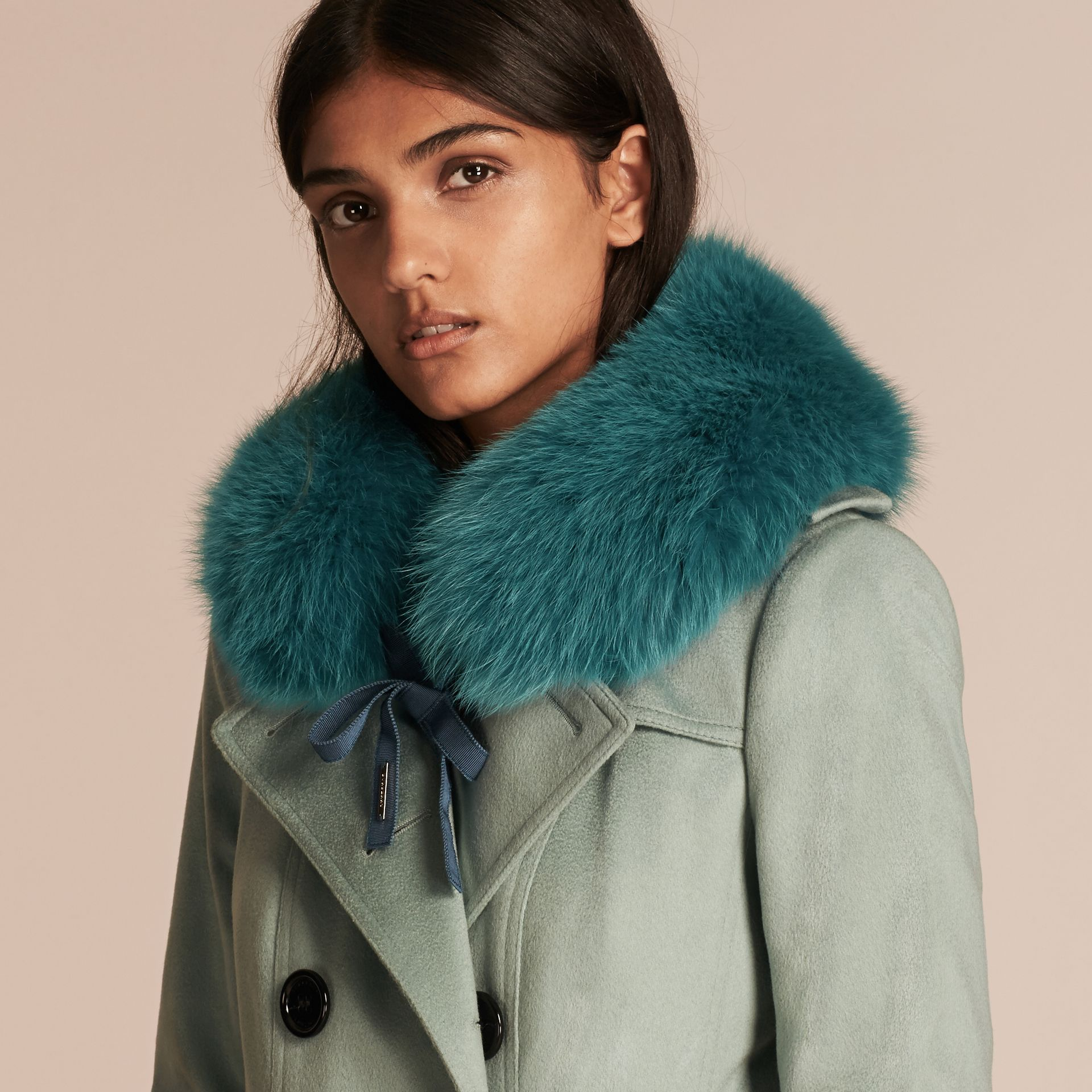 Dark aqua Fox Fur Collar with Check Cashmere Lining Dark Aqua - gallery image 3