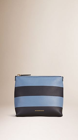 Striped Grainy Leather Pouch