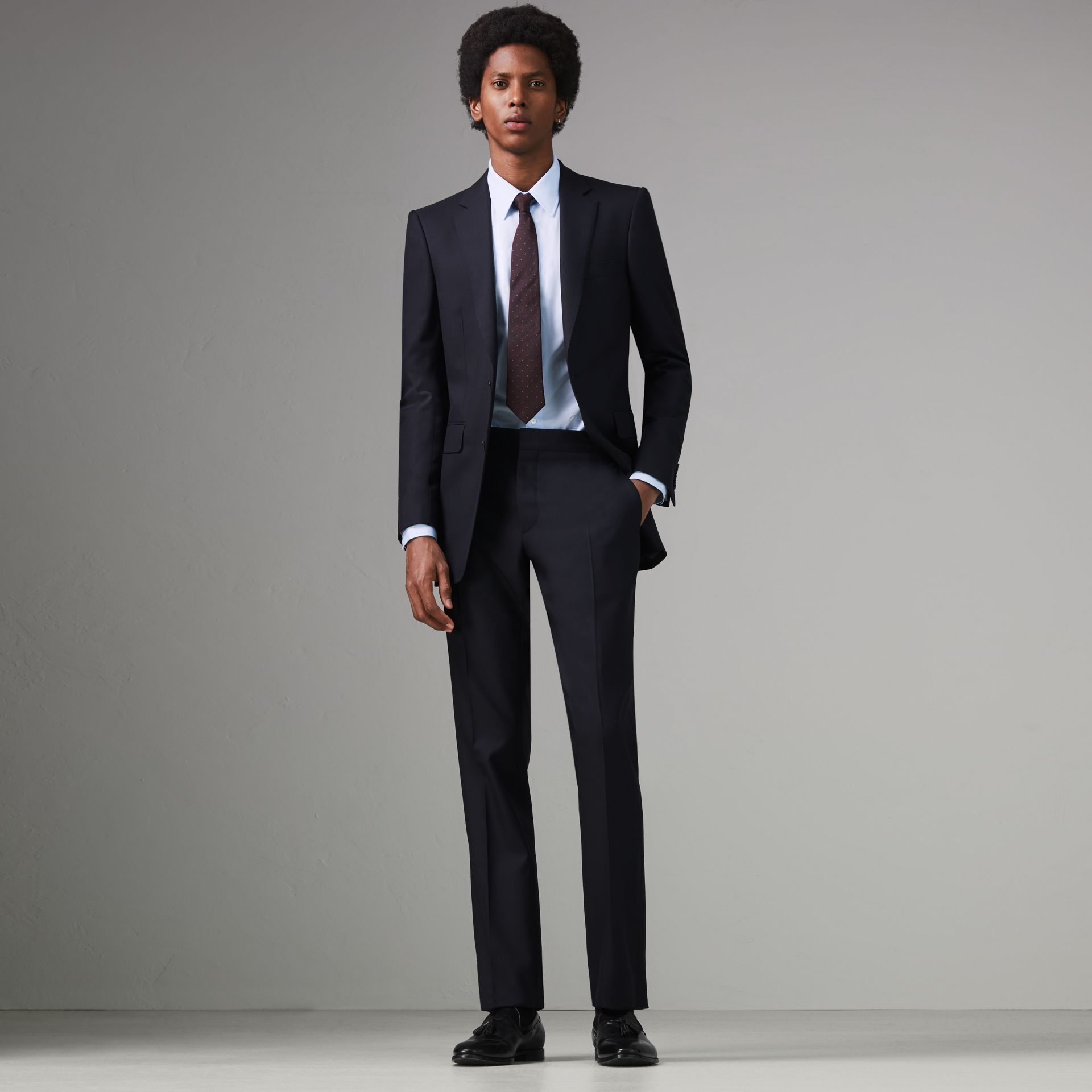 Modern Fit Wool Twill Suit in Navy - Men | Burberry - gallery image 0
