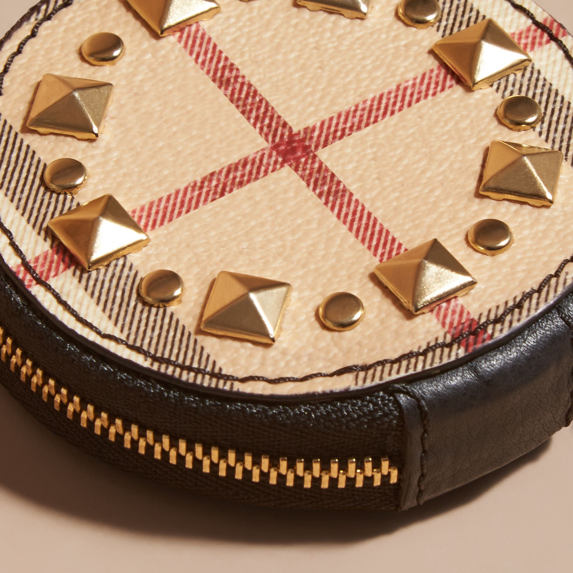 Studded Haymarket Check and Leather Coin Case - gallery image 2